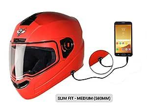 Steelbird SBA-1 7Wings HF Dashing Full Face Helmet with Plain Visor and Detachable Handsfree Device (MEDIUM 580 MM SLIM FIT, RED)