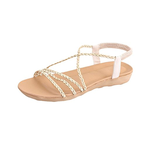 Kkangrunmy sandali alla schiava alti, sandali superga scarpe donna sandalo,donne boemia tessuto cintura semplice pantofole flat beach sandali pantofole pelliccia (36, beige)