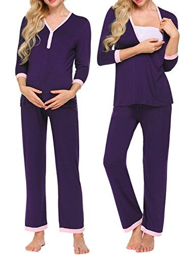 Unibelle Damen Stillpyjama-Umstandspyjama-Schlafanzug Zweiteilig Hausanzug Pyjamas 3/4 Ärmel V-Ausschnitt mit Knöpfeleiste Loungewear- Gr. XL, Dunkel Lila