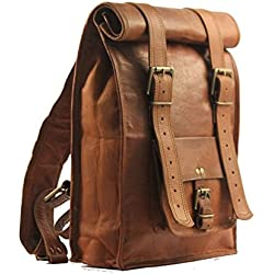 IHV - Mochila vintage de piel estilo masculino, tamaño mediano marrón marrón mediano