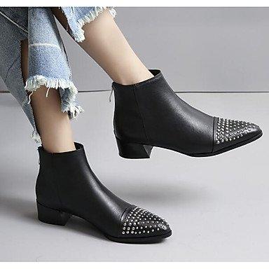 Rtry Femmes Chaussures Véritable En Cuir Pu Automne Hiver Mode Bottes Talon Plat Bottes Bottillons / Bottines Bottes Mi-mollet Pour Casual Noir Noir Us7.5 / Eu38 / Uk5.5 / Cn38 Us8 / Eu39 / Uk6 / Cn39