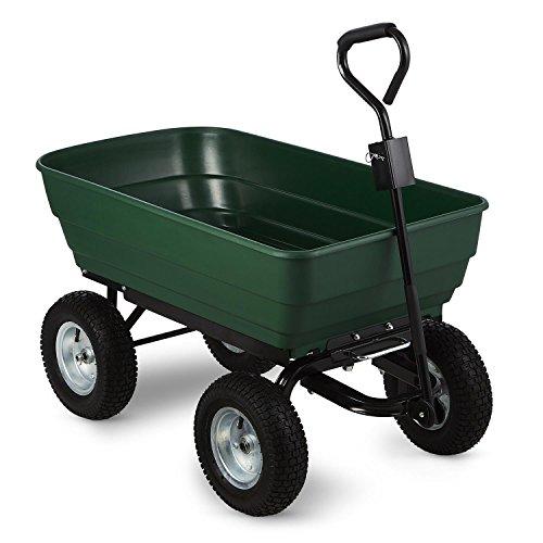 Waldbeck Elephant - Chariot remorque benne de jardin basculant pour travaux de jardinage, rénovation, chantier (capacité cuve de 125l, 400 kg, pneus extra-large avec jantes acier) - vert