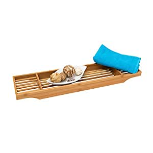 Relaxdays Mensola Vasca da Bagno per Accessori, Bambù, con 3 Scomparti e 70 cm, di Larghezza, Marrone