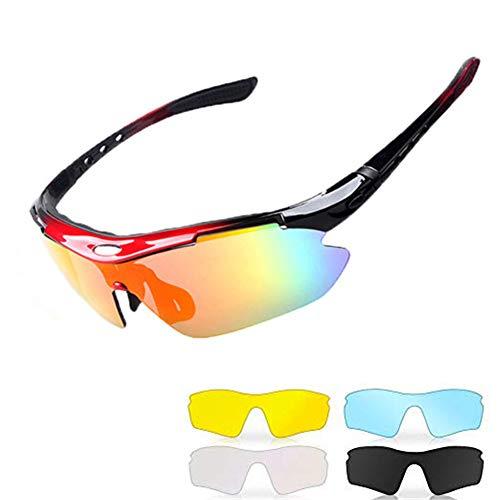 WULE-Sunglasses Unisex Polarisierte Sportschutz Radfahren Brille Sonnenbrillen mit 5 Wechselobjektiven für Männer, Frauen, Outdoor-Aktivitäten (Farbe : Red Black)