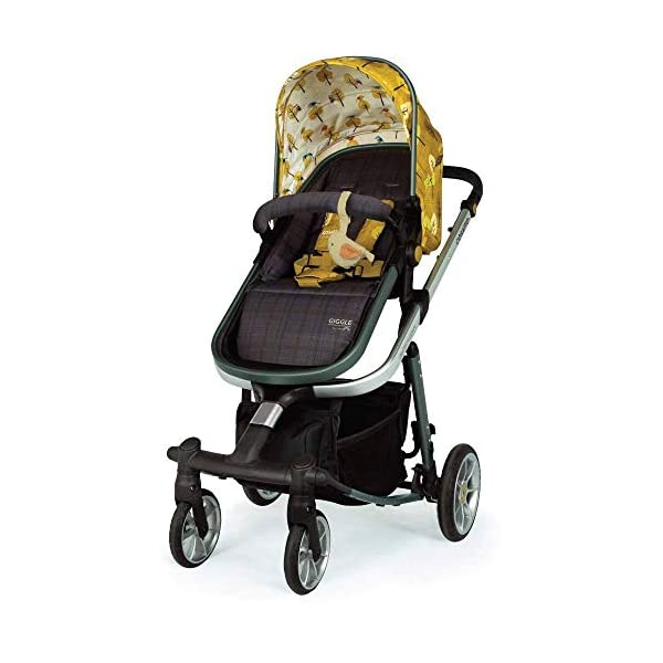 Cosatto Giggle Quad Pram & Pushchair Spot The Birdie Cosatto Enhanced performance. unique tyre material and all-round premium suspension give air-soft feel. Comfy all-round. spacious carrycot for growing babies.  washable liner. reversible reclining seat. Ultimate buy. tested up to a mighty 20kg for even longer use. big 3.5kg capacity basket for big shop 5