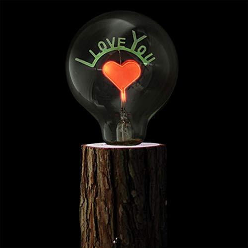 Uonlytech 220v 27mm san valentino lampadina amore lampadina decorativa edison lampadina stile vintage