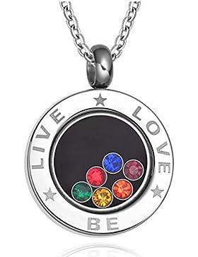 Gudeke Edelstahl-Regenbogen -Kristall-hängende Halskette für Homosexuell & Lesbische stolz Lesbian Pride, freie...