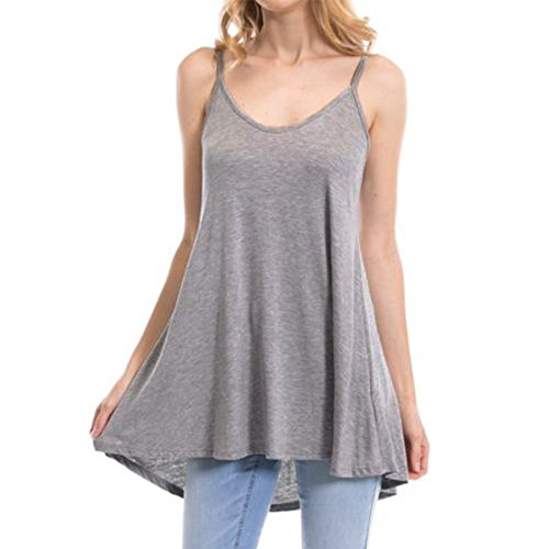 340235bd8377 Damen T-Shirt ärmellos Blusen Sommer Lösen Weste V-Ausschnitt Tunika GY/M