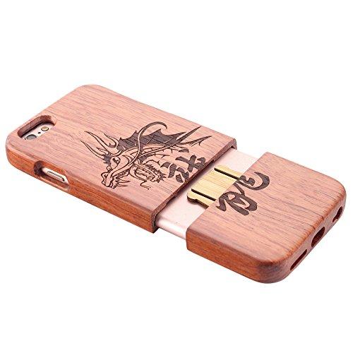 Coque iPhone 7 Anti Choc Case en Bois Naturel Forepin® Réel Etui Couvert et Housse en Wood Dur dans Motif de Sculpté élégante Protecteur pour iPhone 7,4.7 inch (Lion) Dragon