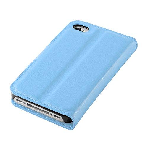 Apple iPhone 4 / 4S / 4G Hülle in VIOLETT von Cadorabo - Handy-Hülle mit Karten-Fach und Standfunktion für iPhone 4 / 4S / 4G Case Cover Schutz-hülle Etui Tasche Book Klapp Style in MANGAN-VIOLETT PASTEL-BLAU