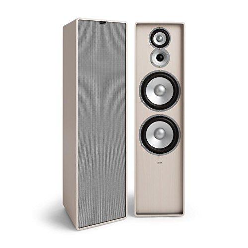 NUMAN Retrospective 1977 MKII • Standlautsprecher • 3-Wege Lautsprecher • Paar HiFi Speaker • mit Grauer Lautsprecherabdeckung • 120 Watt • 2 x 20 cm-Tieftöner • 10 cm-Mitteltöner • Hochtöner • weiß