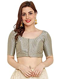 9d73a9799a2e20 Salwar Studio Women's Grey Dupion Silk Readymade Padded Saree Blouse(SSB2123_Grey_34  To 42)