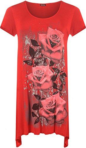 Donna WearAll - grande glitter rosa stampa irregolare sull'orlo manica corta Top - 10 - lunga colori dimensioni 40-58 Rot