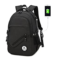 "Super Modern Unisex Nylon Casual Lightweight Backpack Canvas Travel School Laptop Bag With Usb Port 17.7""x11.8""x5.9"" (20l)"