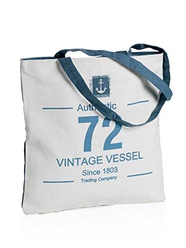 MONTEMAGGI Borsa in cotone bianco manici lunghi. Bellissima borsa da mare o da città dotata di cerniera. Dimensioni: 42x1x43 cm bianco e azzurro
