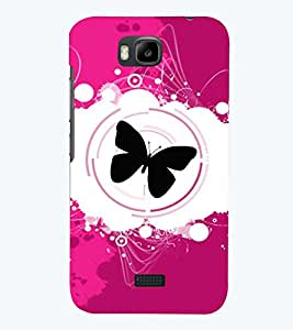 Printvisa Premium Back Cover Black Butterfly With Pink And White Background. Design For Huawei Honor Bee::Huawei Y 5C