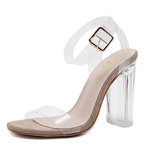 Transparente Klumpige Ferse Große Frauen Sandalen Offene Zehe Knöchelriemen Klar Heels Schuhe Für Mädchen Party Tanzen Pumpen,Beige-EU:42/UK:8