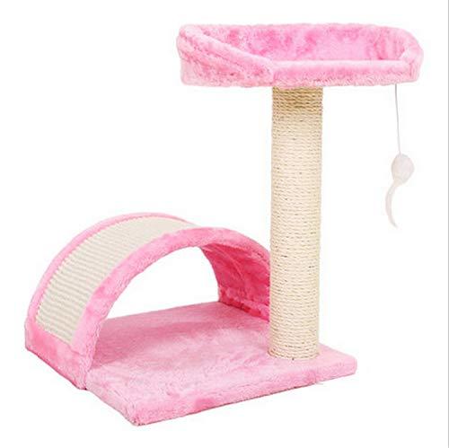 UNIQUE-F Katze Klettergerüst Mehrschichtige Cat Tower Arch Bridge Haus Fang Klettern Aktivität Spielzeug Haustier Kratzbaum Springen Rosa -