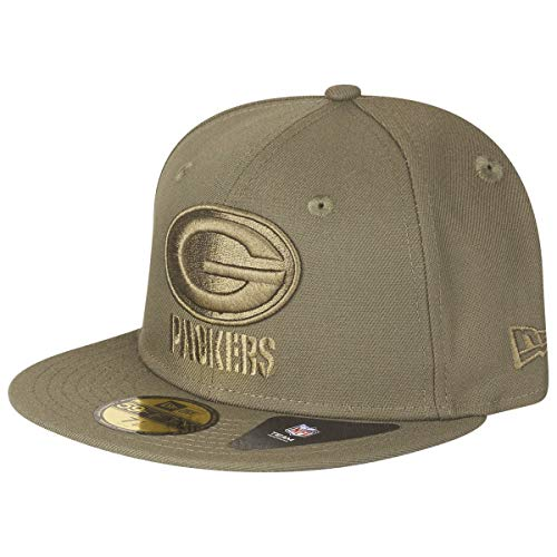 Brim Fitted Cap (New Era 59Fifty Poly Tone Packers Cap Basecap Baseballcap Flat Brim Fitted NFL-Cap Green Bay (7 3/4 (61,5 cm) - Oliv))