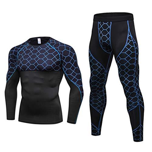 T-Shirt à Manches Longues pour Hommes Slim Body Shaper Compression Sets 3D Cut Tight Pants Tops