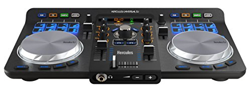 Hercules Universal DJ (2-Deck DJ Controller, Bluetooth, 16 Performance-Pads, Audio In/Out, DJUCED 40°, PC / Mac / iOS / Android)