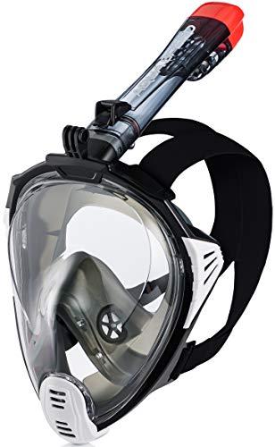Aqua Speed Drift Erwachsene 180° Panorama Full Face Schnorchelmaske + Mikrofaser Handtuch | Tauchmaske mit Schnorchel | Klappbar | Halterung für Action Kamera, L - XL, 17. Schwarz