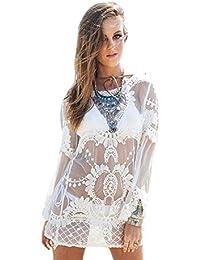 f2e89dcc6 Nueva camiseta de manga larga para crema bordado encaje Cover Up vestido de  playa Wear caftán
