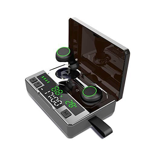 Bluetooth Kopfhörer Drahtloses In Ear OhrhörerBluetooth 5.0 Stereo IPX8 Wasserdicht 120H Spielzeit Sport Drahtlos Geräuschunterdrückung Bluetooth Headset mit Mikrofon Tragbare Mini-Ladebox (Schwarz)