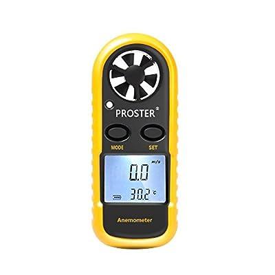 Proster Windmesser Windmessgerät Anemometer mit LCD-Display Handheld für Windsurfen Drachenfliegen Fischen