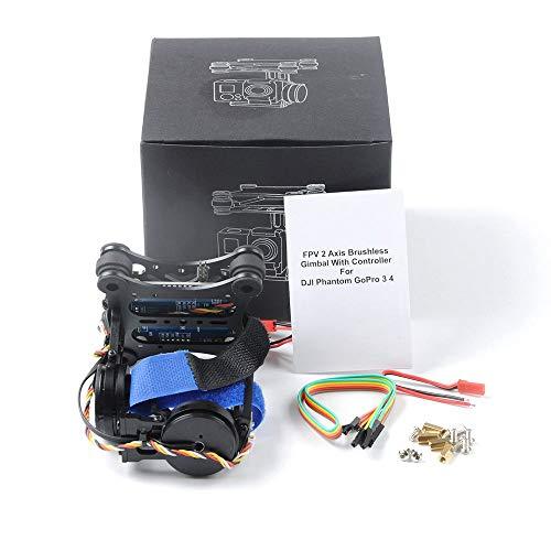 JVSISM 2-Achs-Kamera Fuer 2D-Brushless-Kamera Fuer -Aktion-Kamera F450 F550 S500 FPV Drohne Multirotor-Quadcopter, Schwarz S500 Kamera
