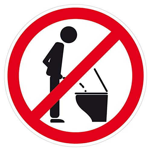 deformaze Sticker Bitte nicht im Stehen pinkeln - Stehpinkler verboten Aufkleber Ø 8 cm für Bad Toilette WC Deckel Spülkasten Badezimmer