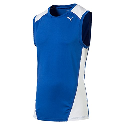 PUMA Herren Cross The Line SleevelessTop T-Shirt, Team Power Blue White, M