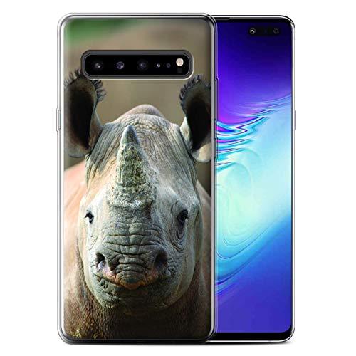 Hülle Für Samsung Galaxy S10 5G Wilde Tiere Nashorn Design Transparent Dünn Flexibel Silikon Gel/TPU Schutz Handyhülle Case
