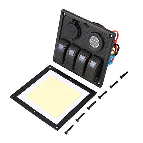 4 Gang LED Rocker Switch Panel with Digital Voltmeter Dual USB Charger black & red & blue