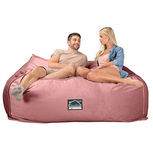 Lounge Pug, CloudSac 2500, EIN Kolossaler XXXL Memory-Schaum Sitzsacksofa, Schlafsofa, Samt Pink