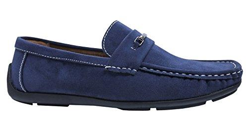 Ak collezioni scarpe mocassini uomo class blu scuro eleganti casual scamosciati (44)