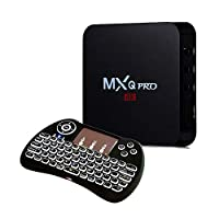 MXQ Pro Android 7.1 TV Box Black with H9 backlight Wirelesss Touchpad Keyboard Mouse
