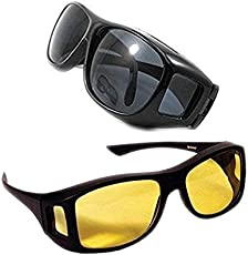 R Dabhi Hd Vision Wrap Around Sunglasses Fits Over Your Prescription Glasses (2 pc of Pack)