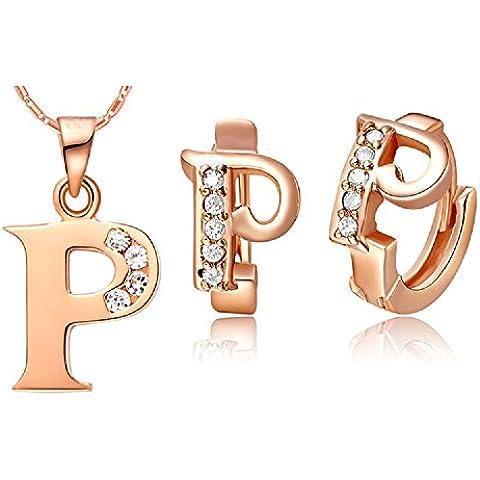 Bling fashion 18K oro rosa placcato 26lettere lettera P collana e (Dragonfly 9 Accent)