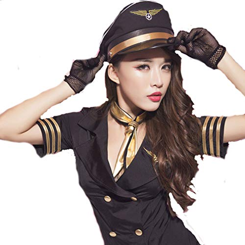 Sexy erotische Dessous-Uniform Versuchungsanzug, sexy Stewardess-Kostüm, Uniform zum Spielen (Stewardess Kostüm Übergröße)