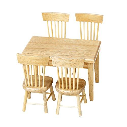 5 Stück Esstisch Stuhl Modell Set Puppenhaus Miniatur Möbel aus Holz - Stuhl-modell