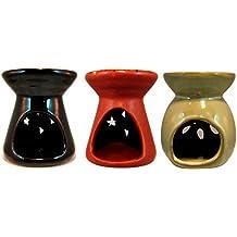 Set de Tres Quemadores Difusores aceites esenciales / aceites perfumados. En cerámica Terracota Mate /