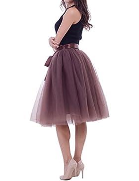 Mujeres falda de tutú Tulle Capas de falda Underskirt Midi falda con el cinturón elástico para boda