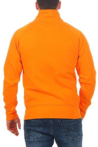 Herren Sweatjacke ohne Kapuze Zip-Jacke mit Kragen, Größe:S, Farbe:Orange - 3