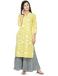 Varanga Yellow Cotton Printed Kurta KFF-VARSS17144