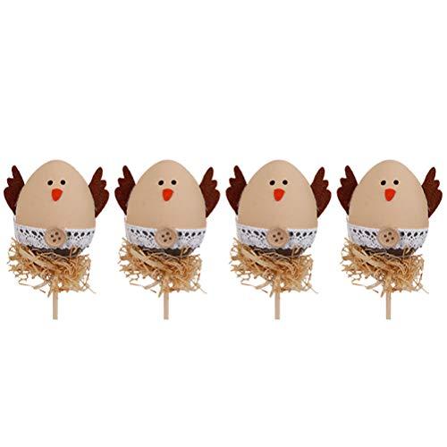 ign Kunststoff Malvorlagen Ostereier mit Sticks DIY Dekorationen für Ostern Party Favors 4PCS ()