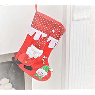 Christmas Stocking Fabric Felt Handmade Santa Claus Snowman 3D Hanging Decoration