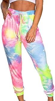 Women's Elastic Waist Tie Dye Print Joggers Casual Pants Sports Sweatp