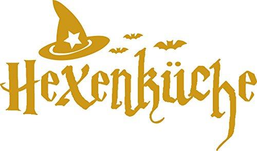 _820 Wandaufkleber Tattoo Wanddeko Deko für Küche Spruch Hexenküche Hut Fledermäuse (97x57cm//820 Mustard) ()