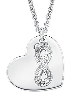 s.Oliver Damen-Kette 42+3 cm verstellbar mit Herz Infinity-Anhänger 925 Silber rhodiniert Zirkonia weiß